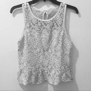 Abercrombie & Fitch Lace Light Grey and White Top